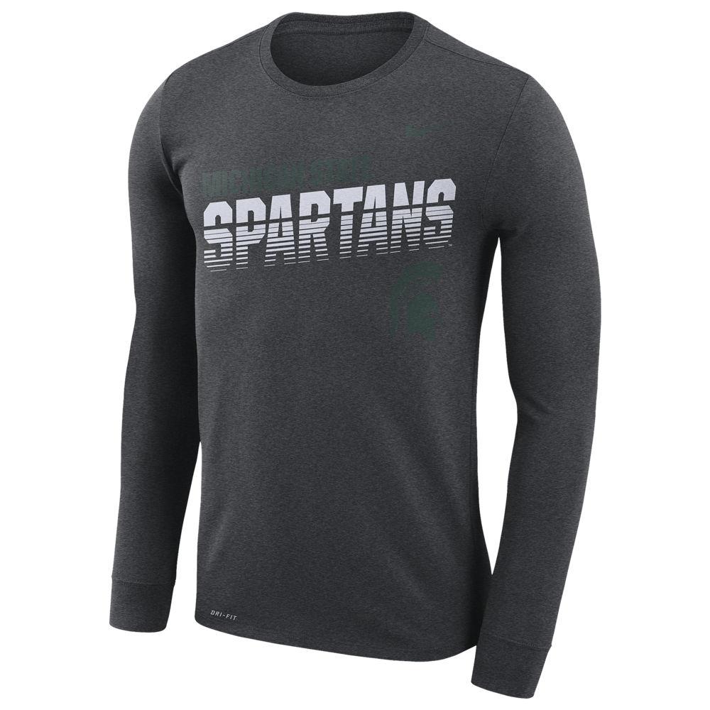 ナイキ Nike メンズ 長袖Tシャツ トップス【College Sideline Legend Logo L/S T-Shirt】NCAA Michigan State Spartans Charcoal Heather