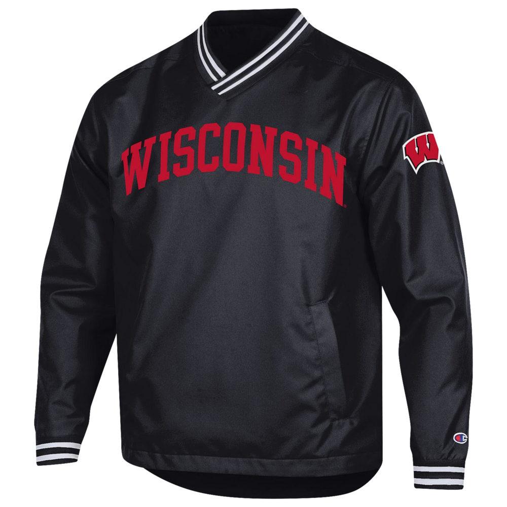 チャンピオン Champion メンズ ジャケット アウター【College Scout Pullover Jacket】NCAA Wisconsin Badgers Black/Red