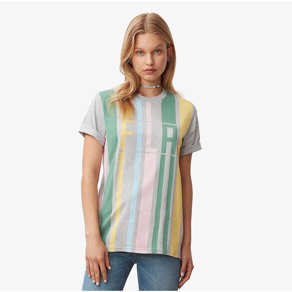 フィラ Fila レディース Tシャツ トップス【Dulce T-Shirt】Light Grey Marl/Pale Banana/Pink Chalk