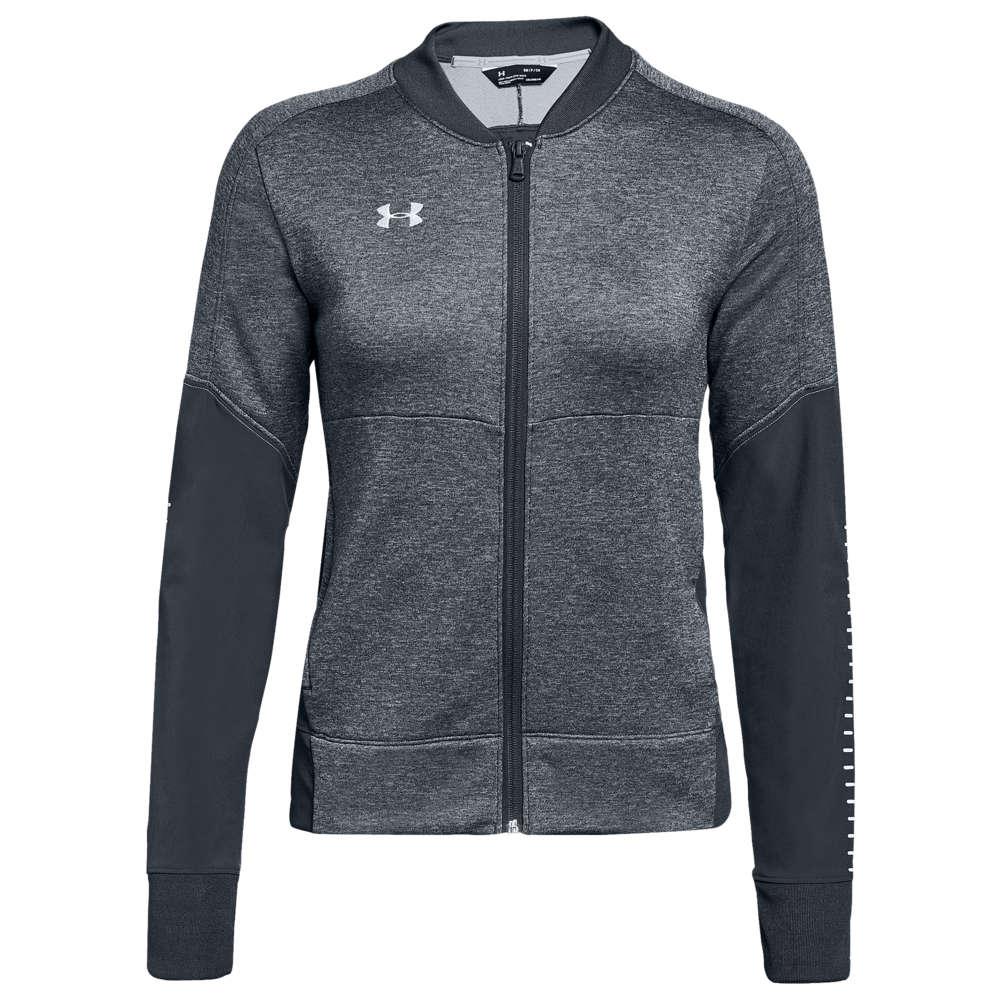 アンダーアーマー Under Armour レディース フィットネス・トレーニング ジャケット アウター【Team Qualifier Hybrid Warm-Up Jacket】Steel Grey/White