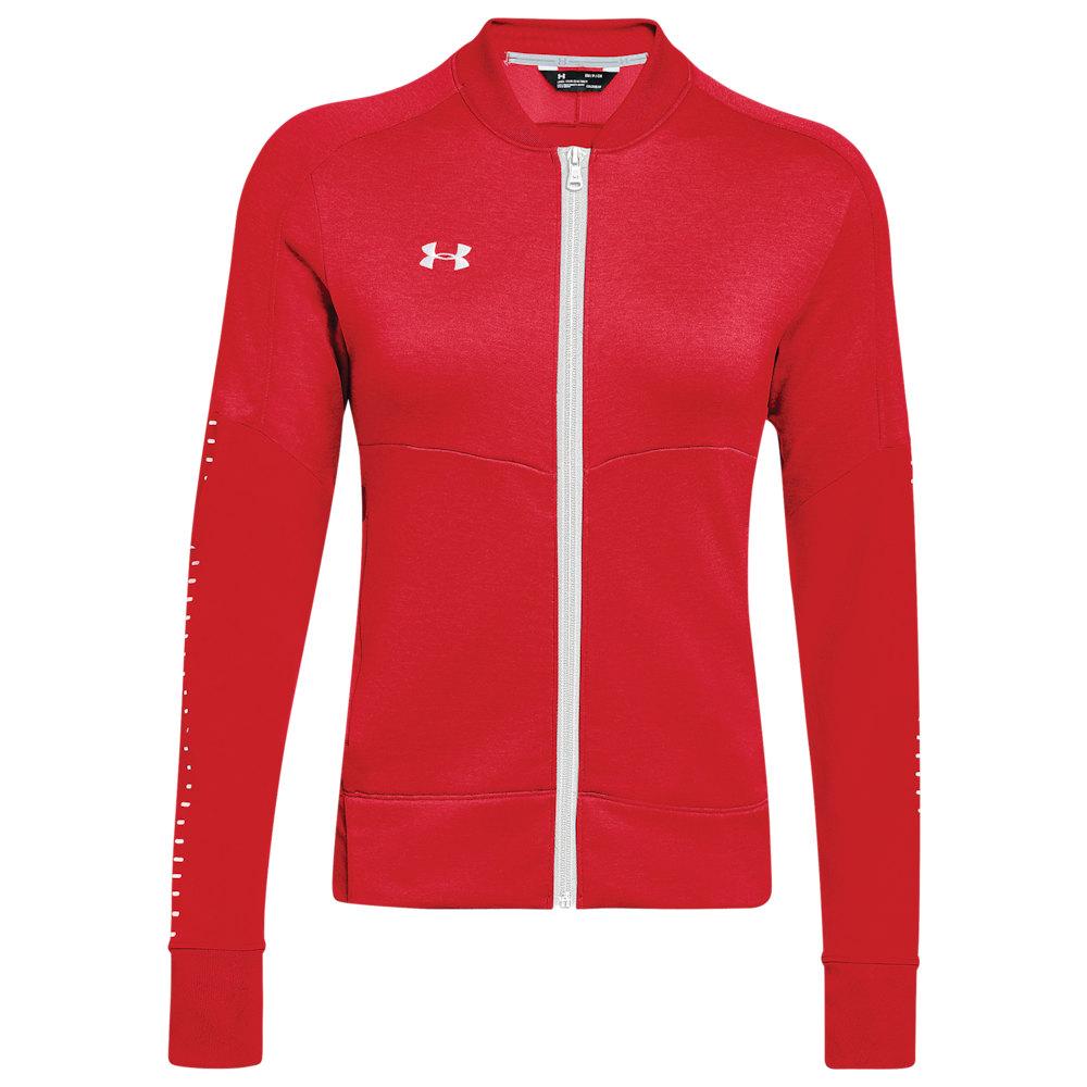 アンダーアーマー Under Armour レディース フィットネス・トレーニング ジャケット アウター【Team Qualifier Hybrid Warm-Up Jacket】Red/White