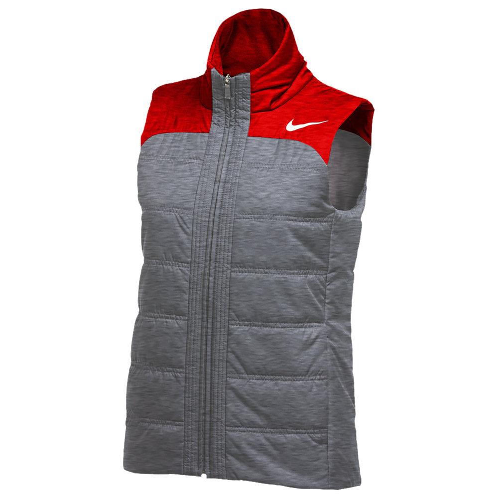ナイキ Nike レディース フィットネス・トレーニング ベスト・ジレ トップス【Team Authentic Full-Zip Vest】Dark Grey Heather/University Red/White