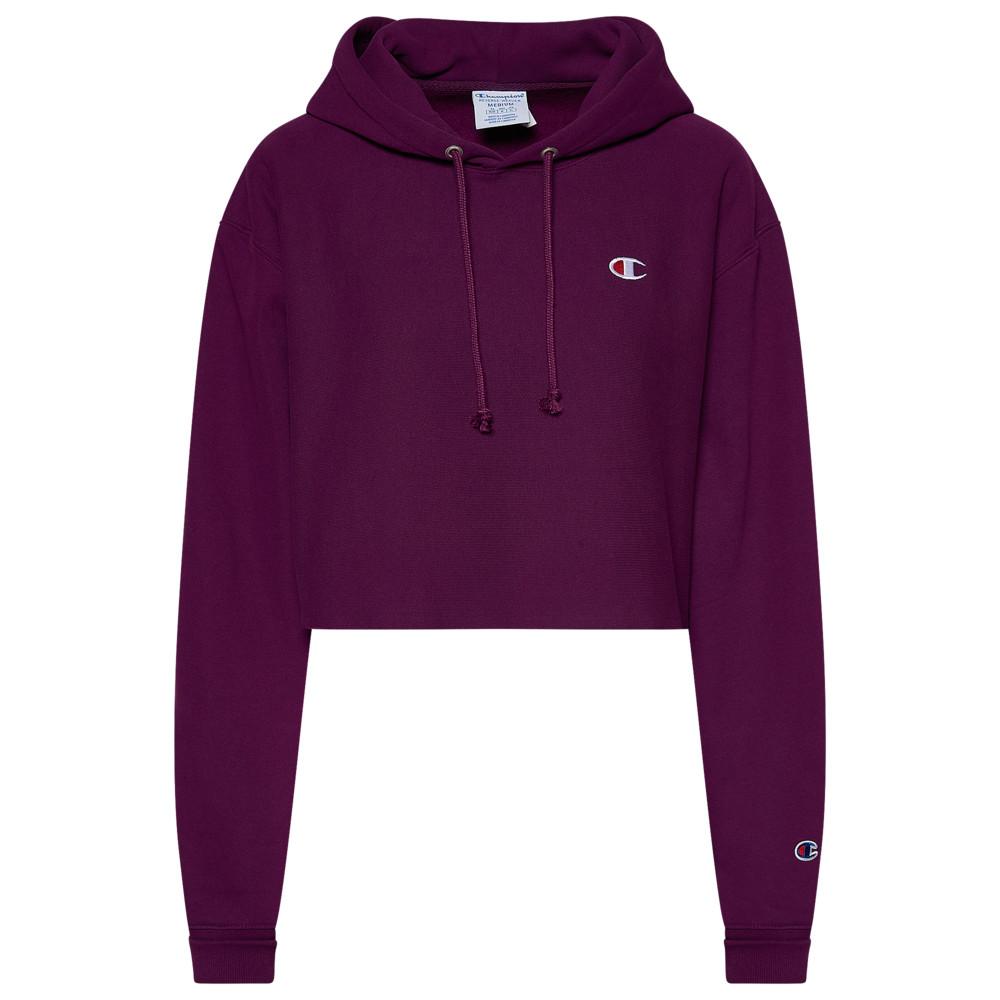 チャンピオン Champion レディース パーカー トップス【Reverse Weave Cropped Cut Off Hoodie】Venetian Purple