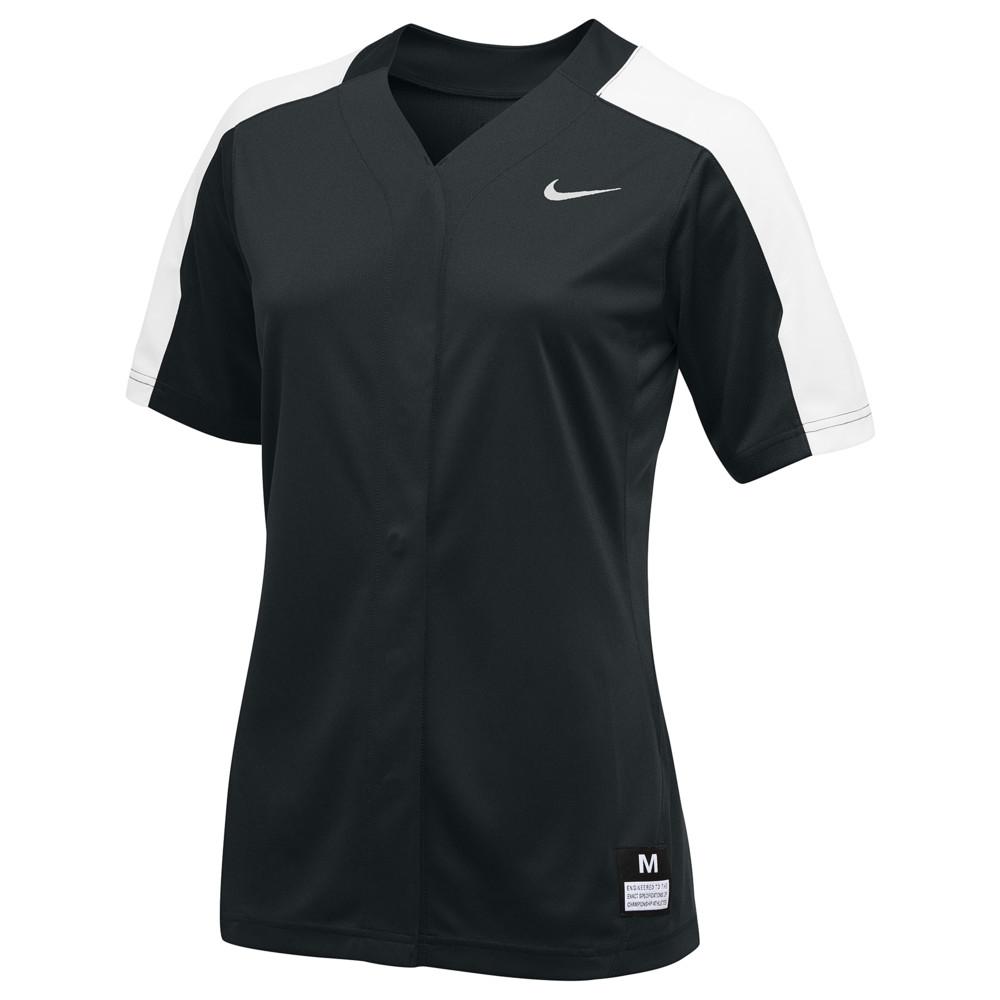 ナイキ Nike レディース 野球 トップス【Team Vapor Pro Full Button Jersey】Black/White