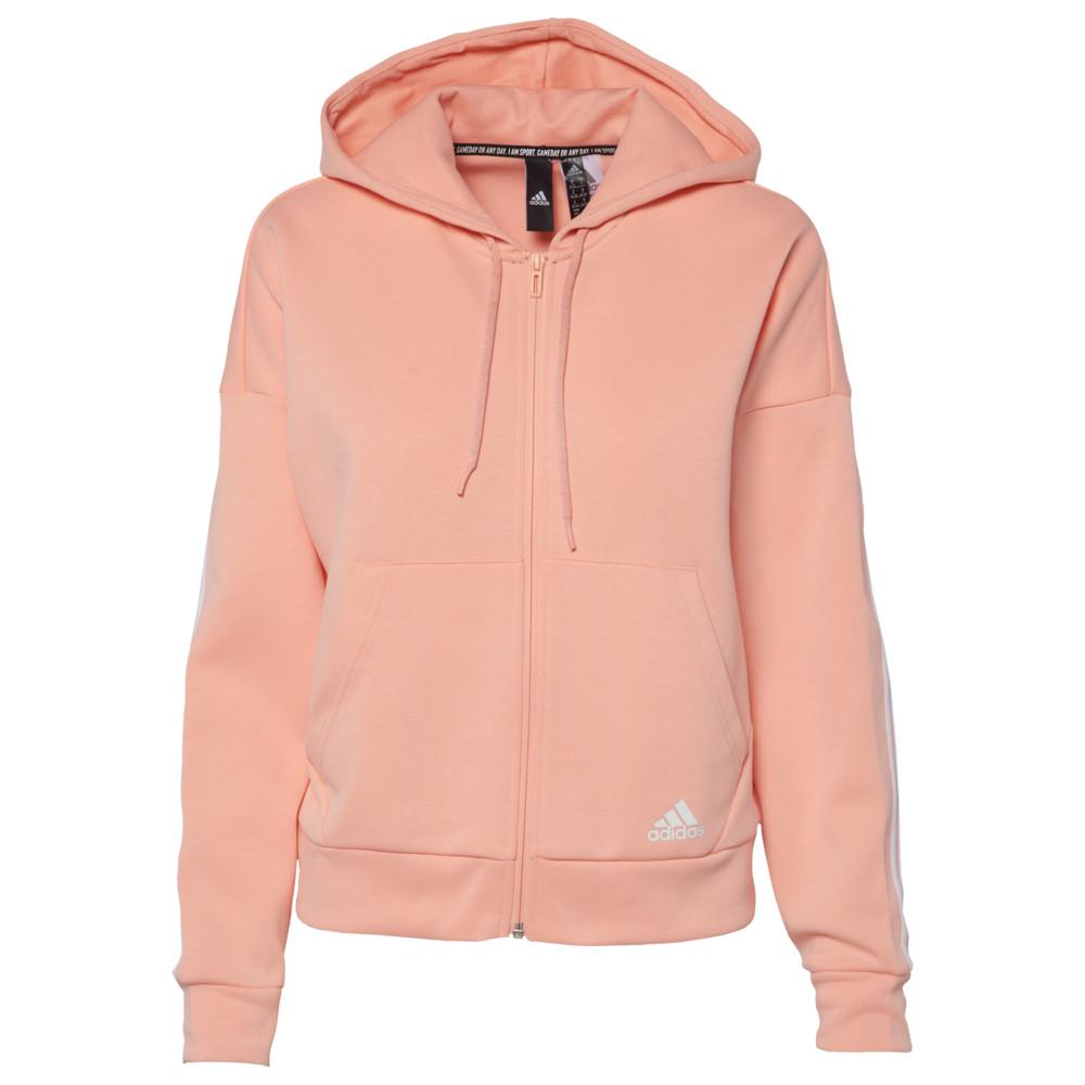 アディダス adidas Athletics レディース パーカー トップス【Must Have 3 Stripe Full-Zip Hoodie】Glow Pink/White