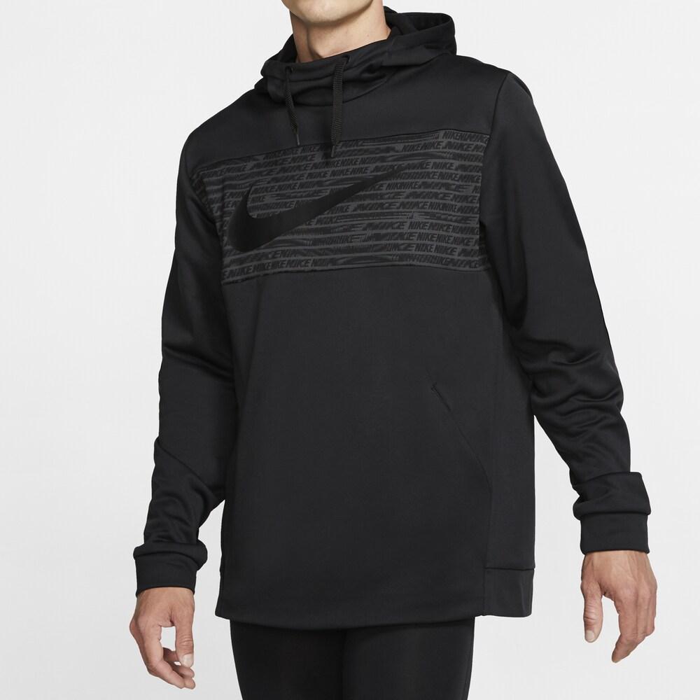 ナイキ Nike メンズ フィットネス・トレーニング パーカー トップス【Therma Fleece Graphic Swoosh Block Hoodie】Black/White