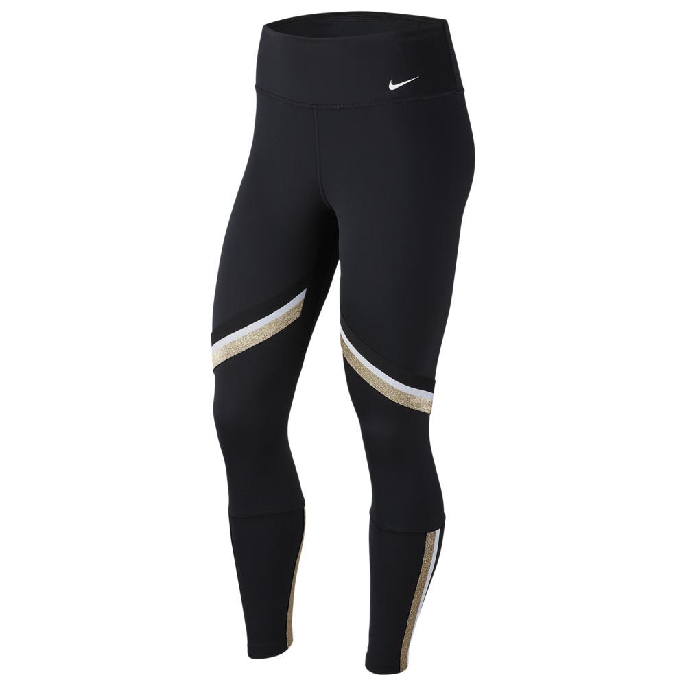 ナイキ Nike レディース フィットネス・トレーニング スパッツ・レギンス テープ ボトムス・パンツ【One Glam Dunk Tape 7/8 Tights】Black/Metallic Gold/White
