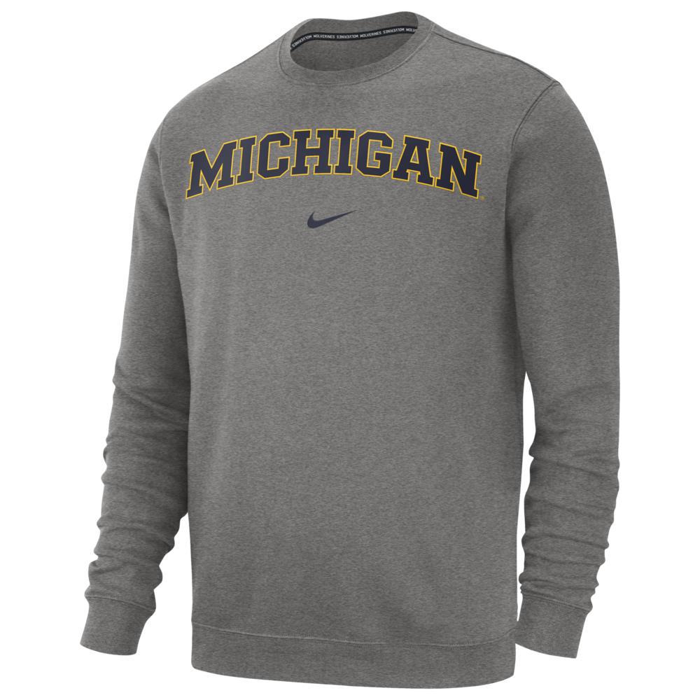 ナイキ Nike メンズ フリース トップス【College Club Fleece Crew】NCAA Michigan Wolverines Dark Grey Heather