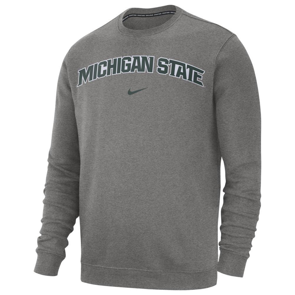 ナイキ Nike メンズ フリース トップス【College Club Fleece Crew】NCAA Michigan State Spartans Dark Grey Heather