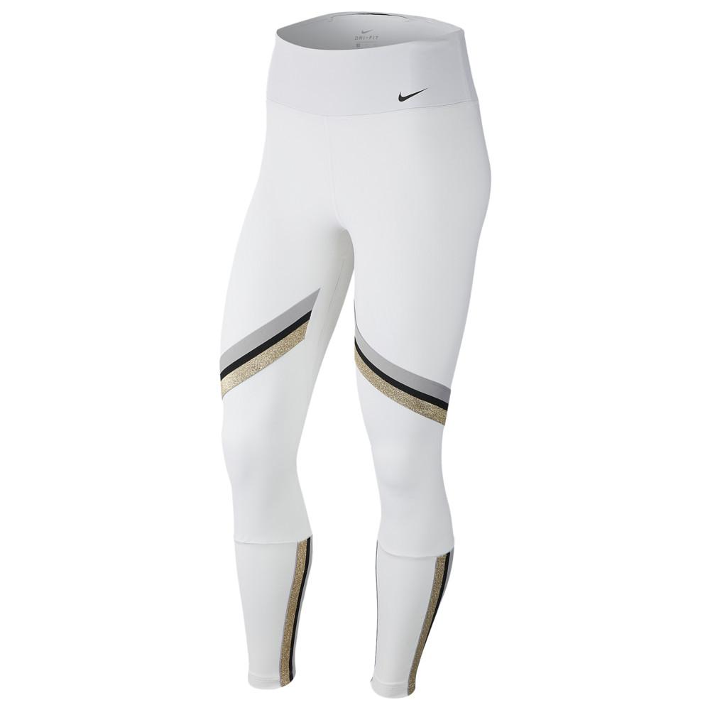 ナイキ Nike レディース フィットネス・トレーニング スパッツ・レギンス テープ ボトムス・パンツ【One Glam Dunk Tape 7/8 Tights】White/Metallic Gold/Black