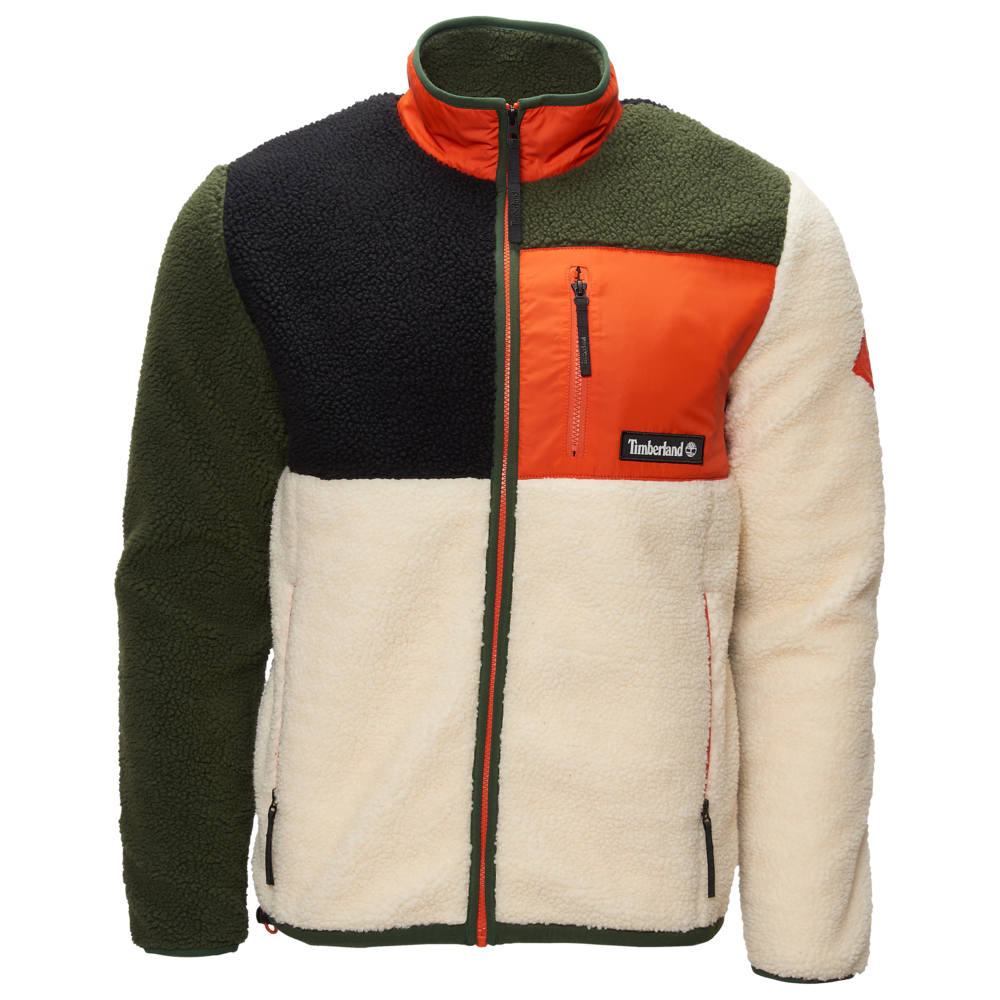 ティンバーランド Timberland メンズ フリース トップス【Sherpa Fleece Full-Zip】White/Orange/Black