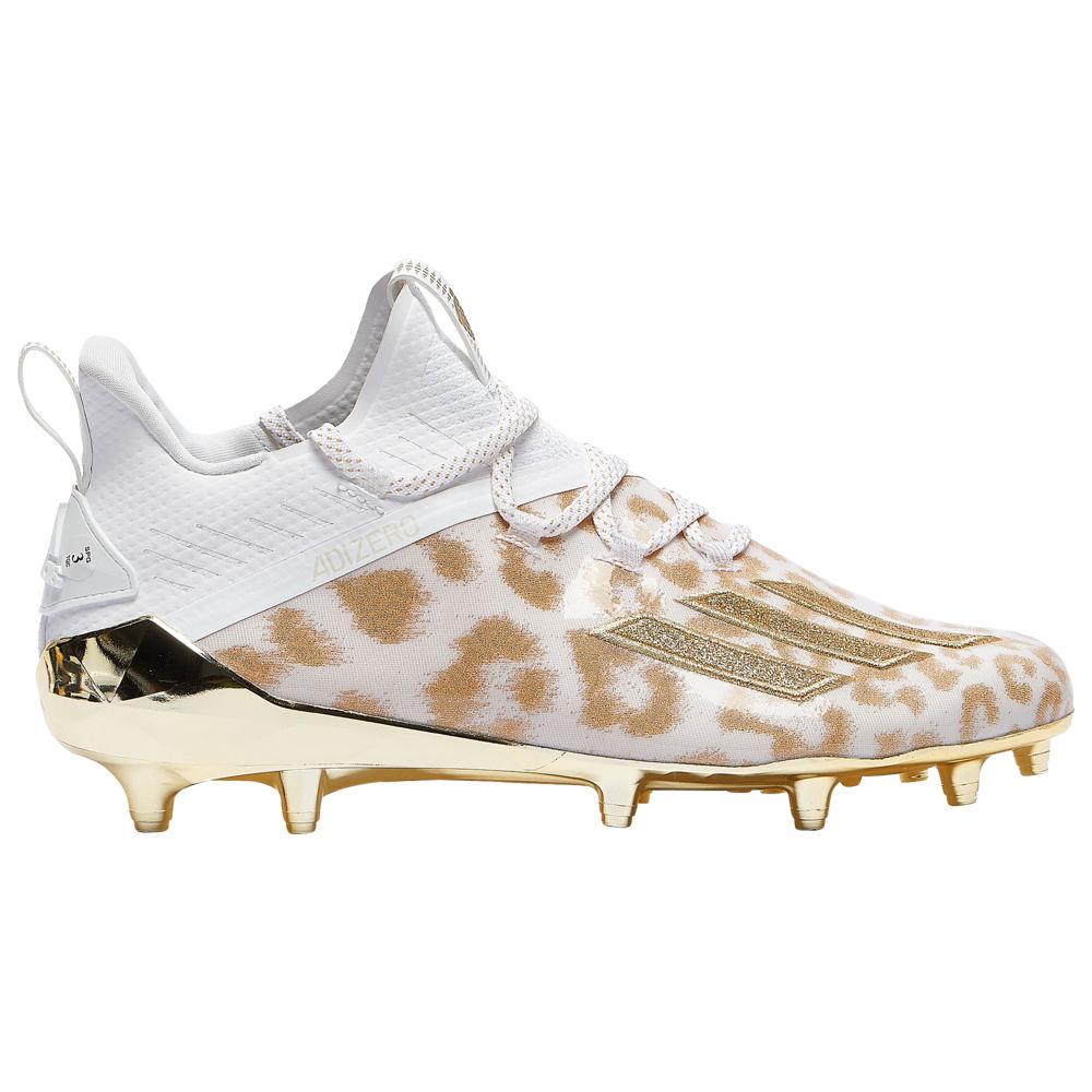 アディダス adidas メンズ アメリカンフットボール シューズ・靴【adiZero】White/Gold Metallic/Gold Metallic X Anniversary - Cheetah