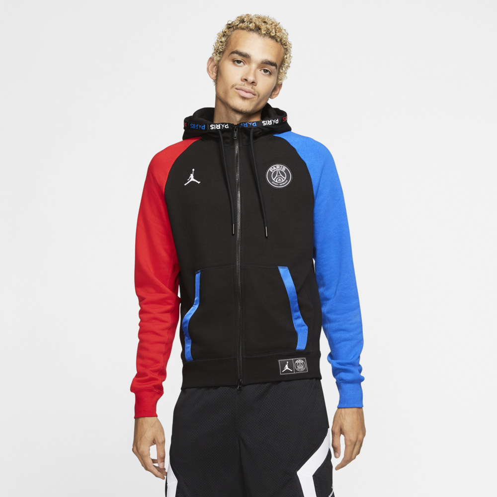 ナイキ ジョーダン Jordan メンズ フリース トップス【Paris Fleece Full-Zip Hoodie】Soccer International Clubs Paris Saint Germain Black/Hyper Cobalt/University Red