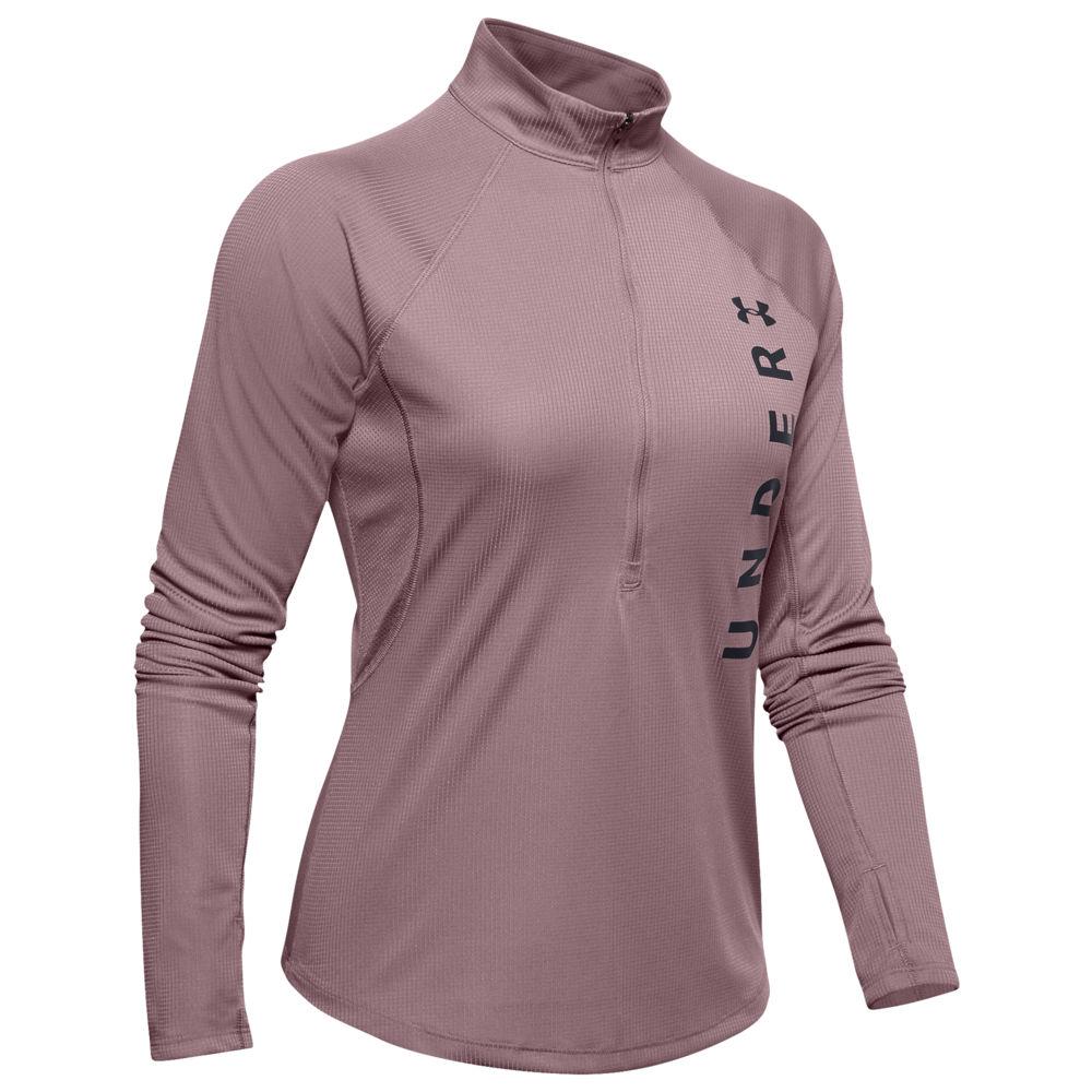 アンダーアーマー Under Armour レディース フィットネス・トレーニング ハーフジップ トップス【Speed Stride Split Wordmark 1/2 Zip】Hushed Pink/Black/Reflective