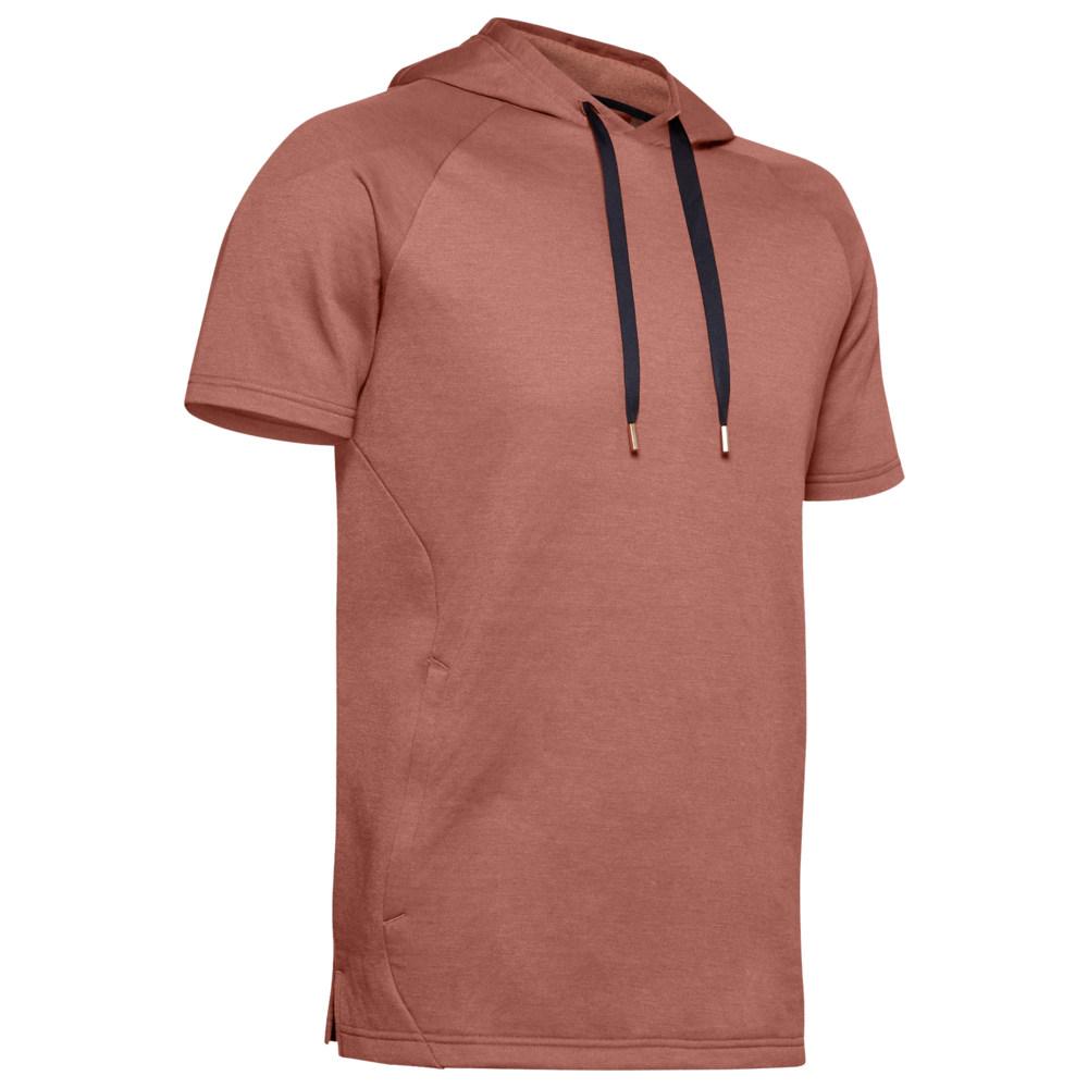 アンダーアーマー Under Armour メンズ フィットネス・トレーニング トップス【Recover Fleece Short Sleeve Hoodie】Cedar Brown/Met Silver
