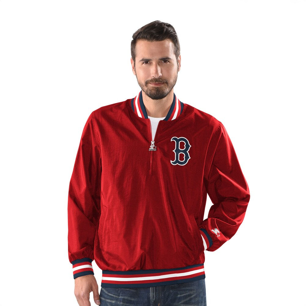 スターター Starter メンズ ジャケット ハーフジップ フード アウター【MLB Jet 1/2 Zip Hooded PO Jacket】MLB Boston Red Sox Red