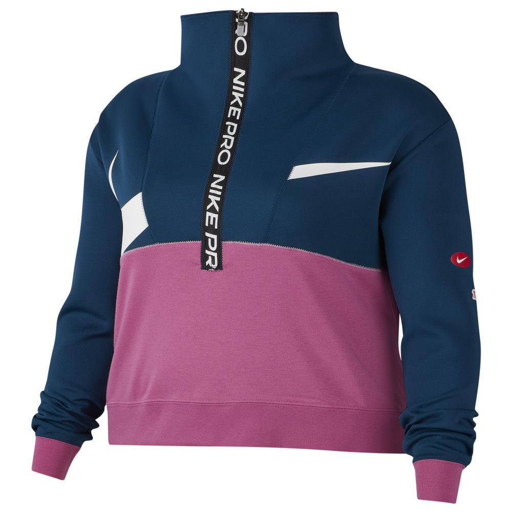ナイキ Nike レディース フィットネス・トレーニング ハーフジップ 大きいサイズ トップス【Plus Size Dry Fit JDIY 1/2 Zip Fleece】Valerian Blue/Cosmic Fuchsia