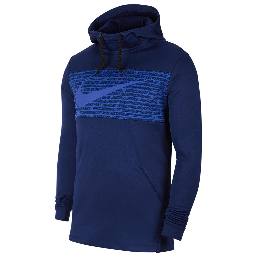 ナイキ Nike メンズ フィットネス・トレーニング パーカー トップス【Therma Fleece Graphic Swoosh Block Hoodie】Blue Void/Hyper Royal