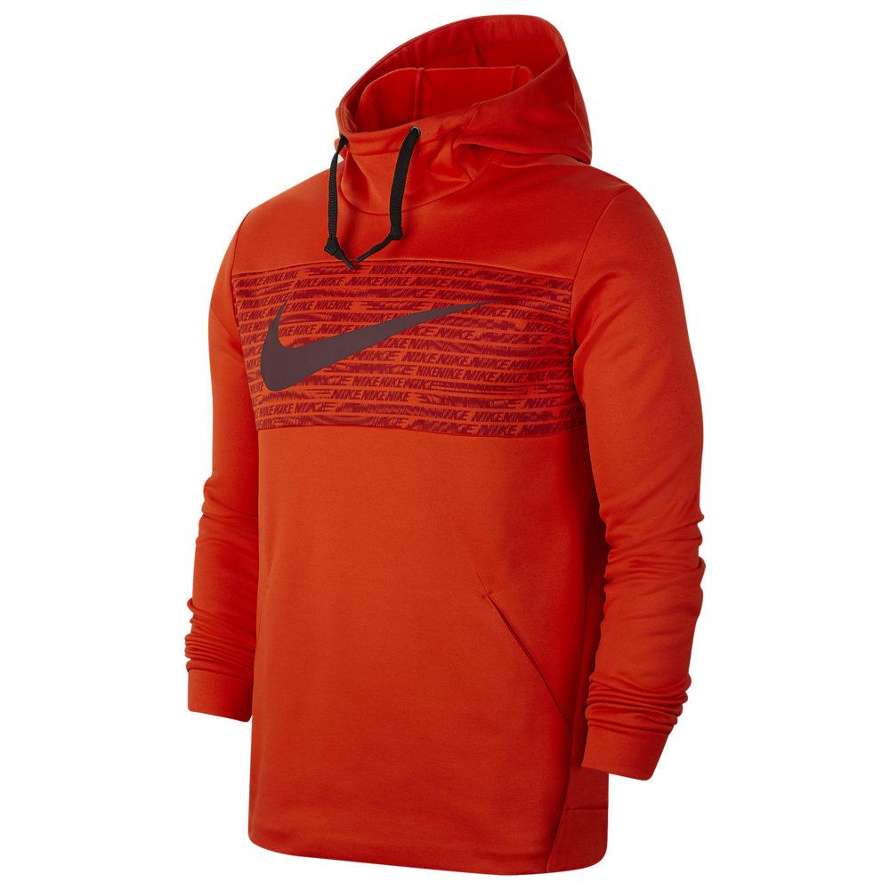 ナイキ Nike メンズ フィットネス・トレーニング パーカー トップス【Therma Fleece Graphic Swoosh Block Hoodie】Team Orange/Night Maroon