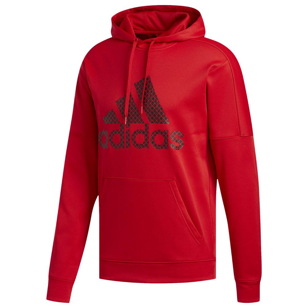 アディダス adidas メンズ フィットネス・トレーニング パーカー トップス【Badge of Sport Team Issue Pullover Hoodie】Scarlet/Black