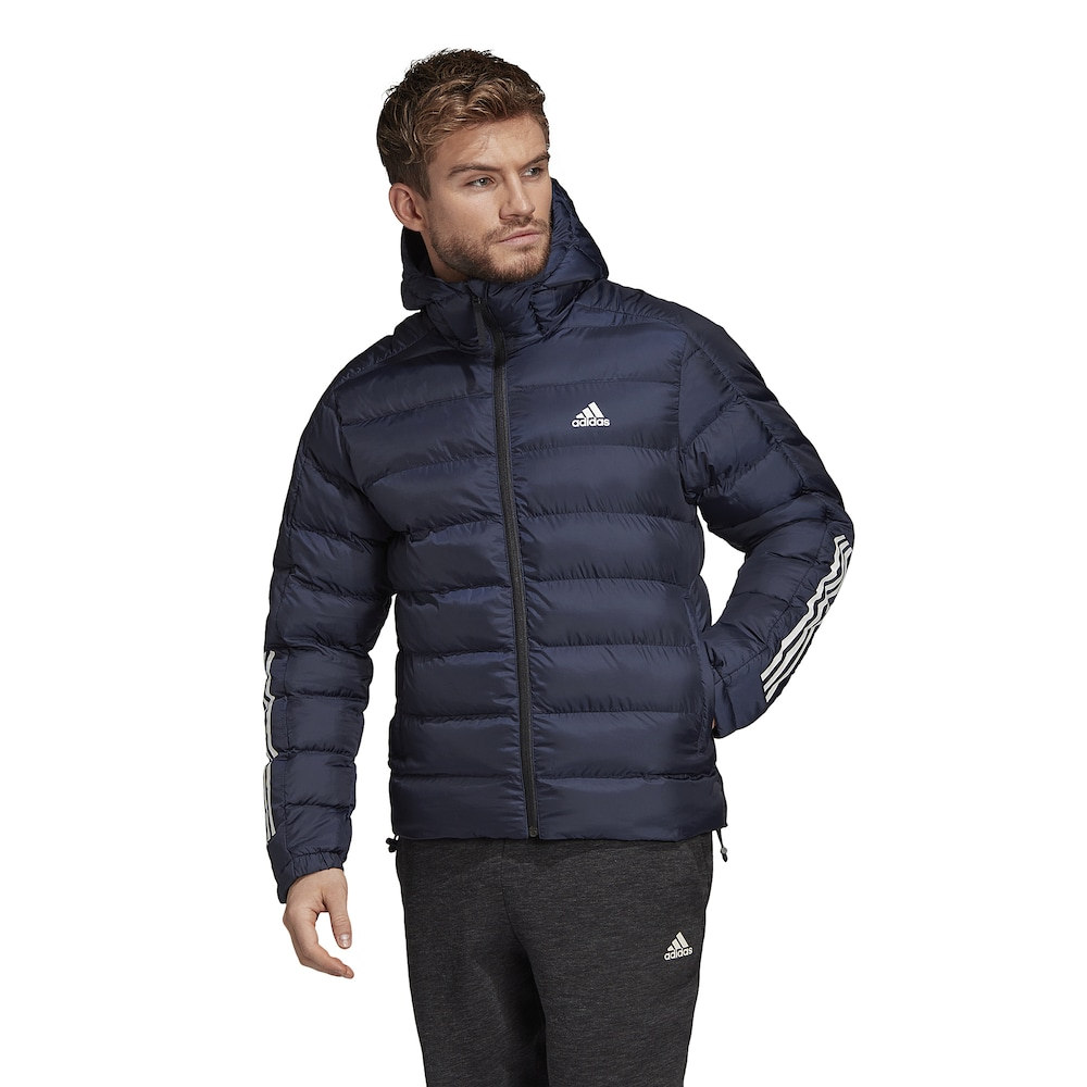 アディダス adidas Athletics メンズ ダウン・中綿ジャケット フード アウター【Itavic 3 Stripe 2.0 Hooded Jacket】Legend Ink