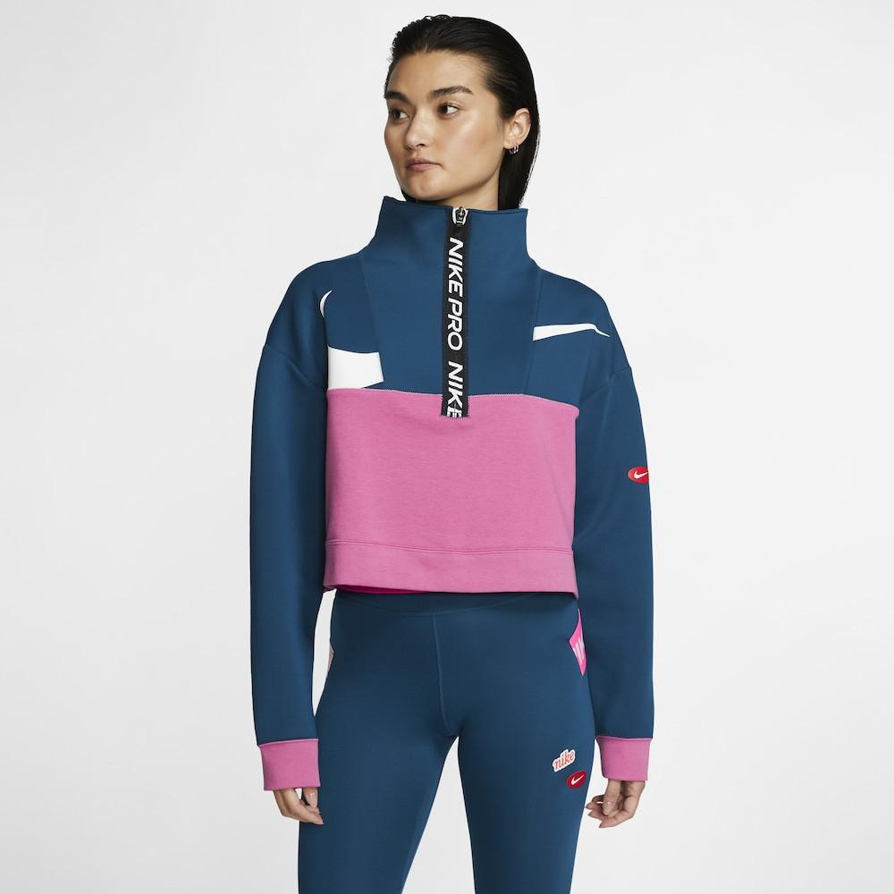ナイキ Nike レディース フィットネス・トレーニング ハーフジップ トップス【Pull Over DF JDIY 1/2 Zip Fleece】Valerian Blue/Cosmic Fuchsia/White