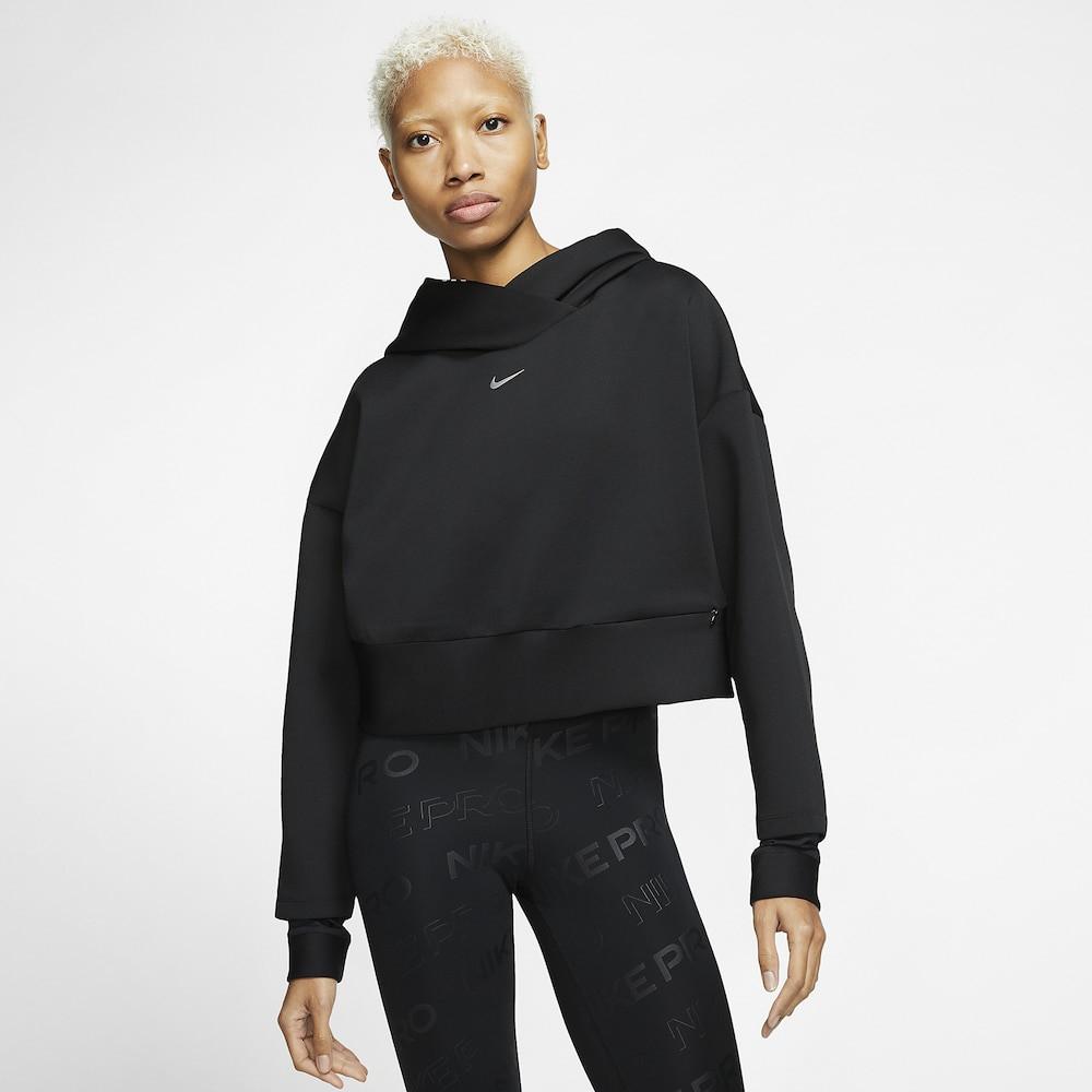 ナイキ Nike レディース フィットネス・トレーニング パーカー トップス【Pro Fleece Hoodie】Black/Metallic Silver