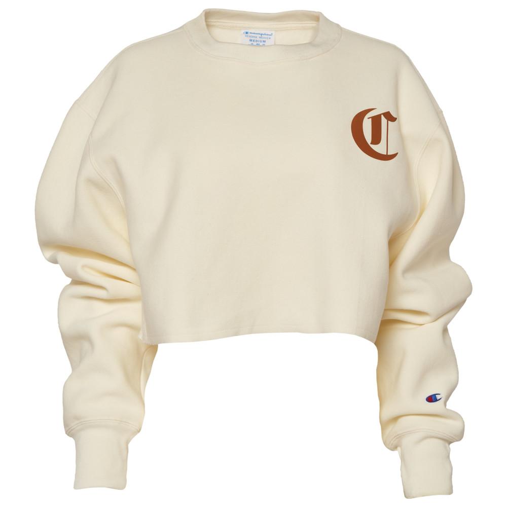 チャンピオン Champion レディース トップス 【Reverse Weave Cropped Cut Off OEL Crew】Chalk White