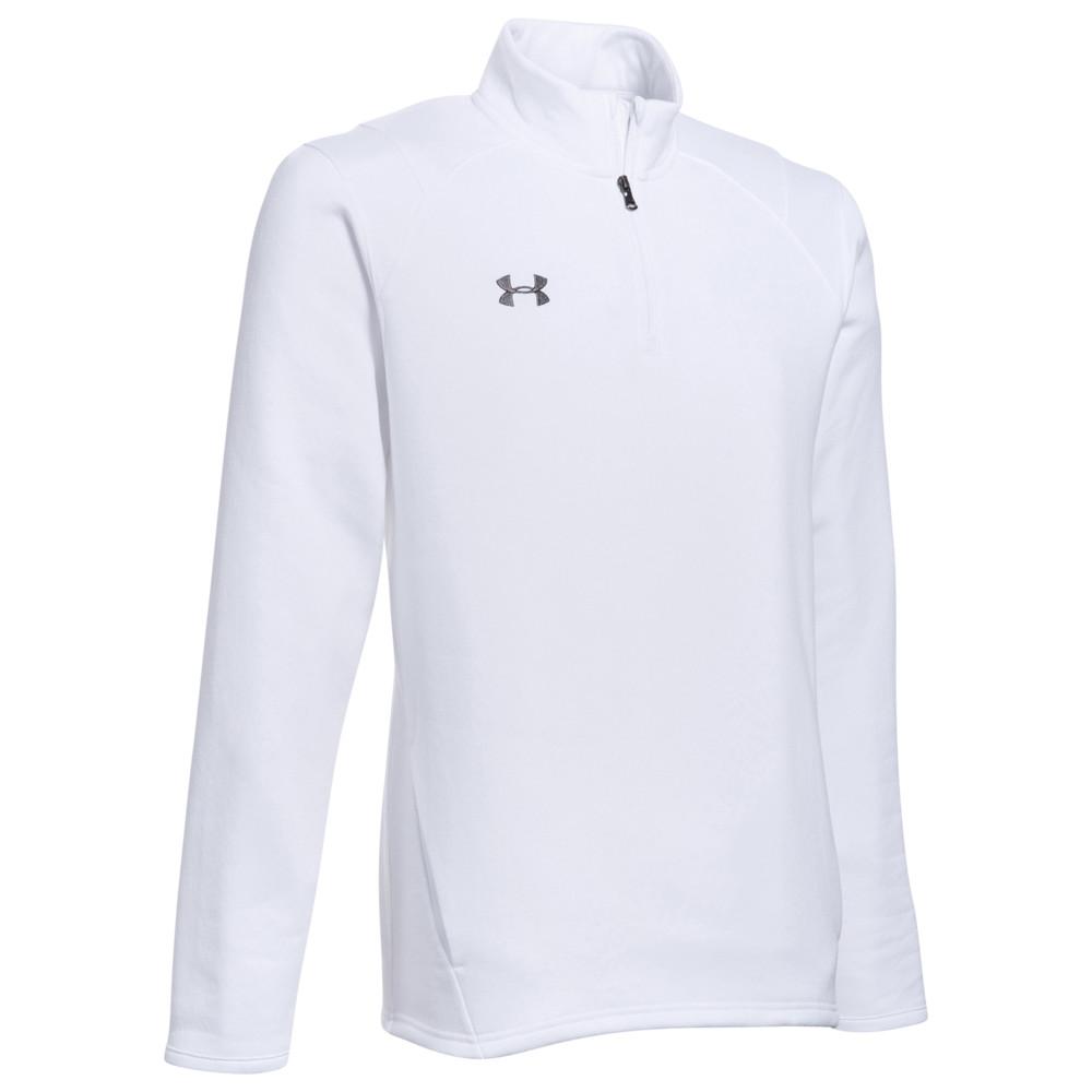 アンダーアーマー Under Armour メンズ フリース トップス【Team Hustle 1/4 Zip Fleece】White/Graphite
