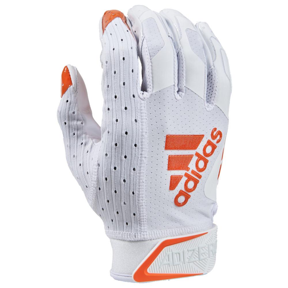 アディダス adidas メンズ アメリカンフットボール レシーバーグローブ グローブ【adiZero 9.0 Receiver Gloves】White/Orange