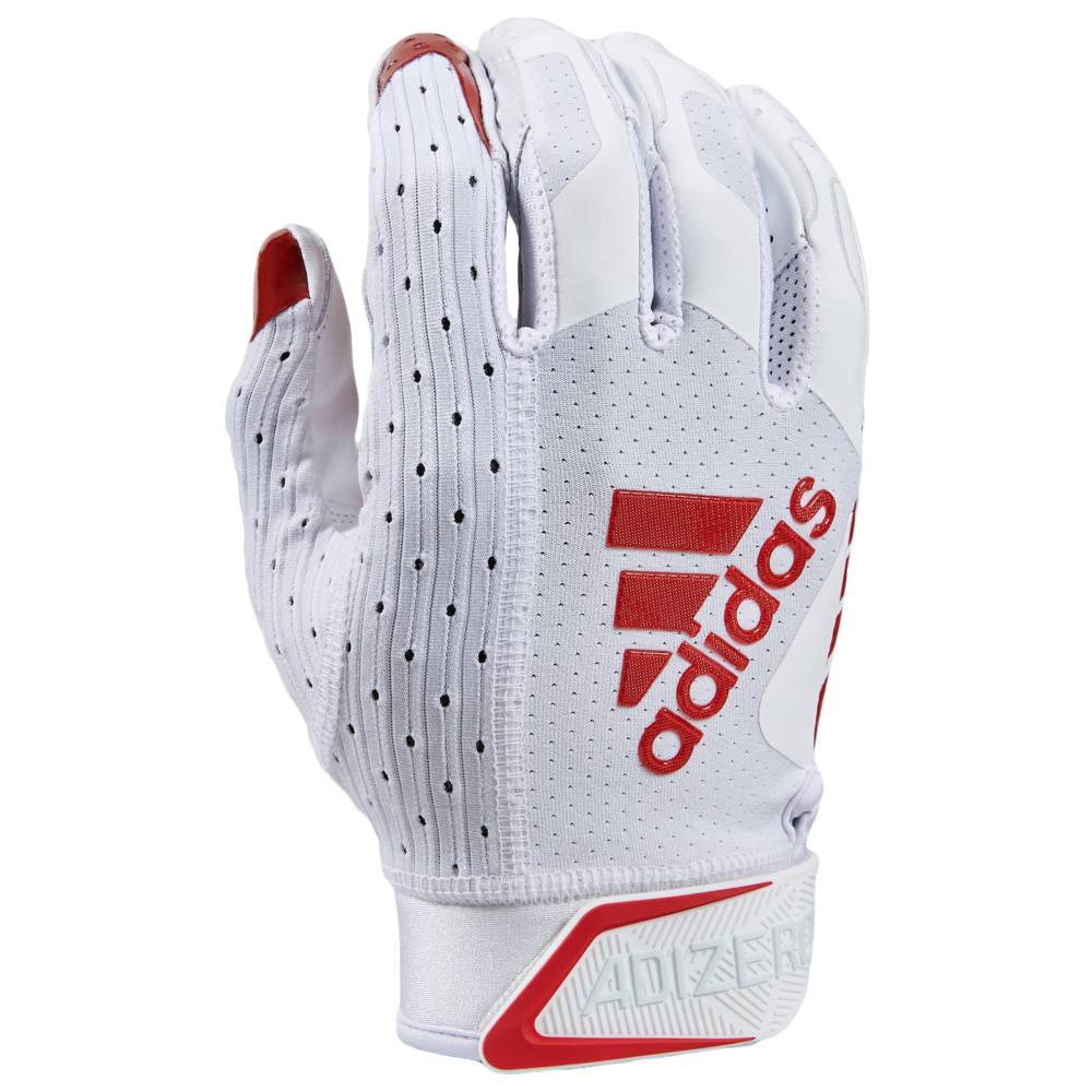 アディダス adidas メンズ アメリカンフットボール レシーバーグローブ グローブ【adiZero 9.0 Receiver Gloves】White/Red