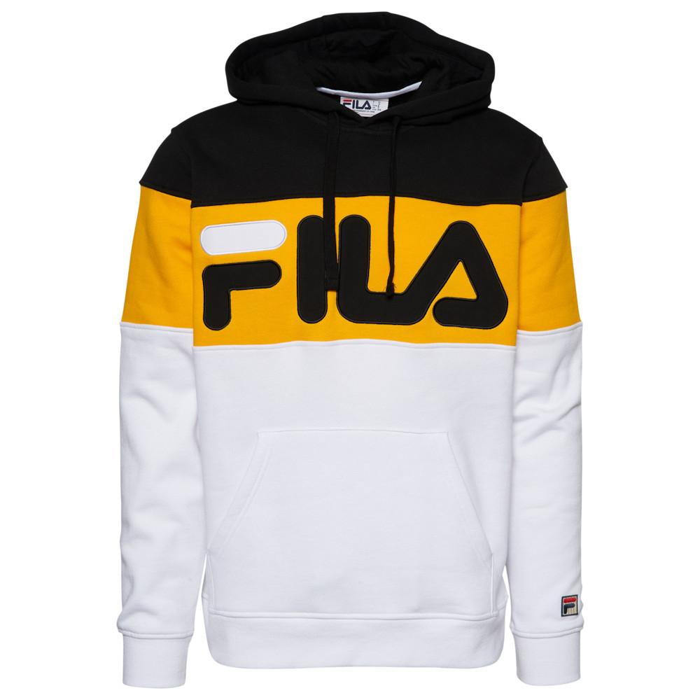 フィラ Fila メンズ フリース トップス【Flamino Fleece Hoodie】Black/Gold Fusion/White