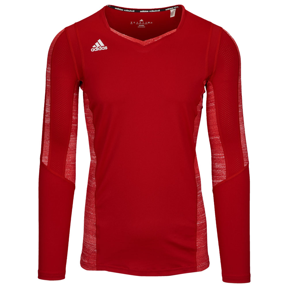 アディダス adidas レディース バレーボール トップス【Team Quickset Long Sleeve Jersey】Power Red/Red Heather