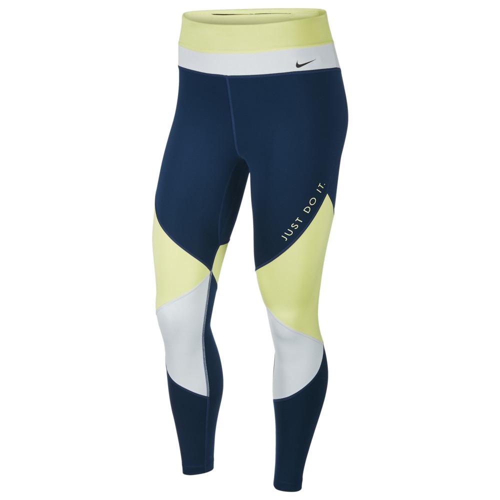 ナイキ Nike レディース フィットネス・トレーニング スパッツ・レギンス ボトムス・パンツ【One 7/8 Colorblock Tights】Limelight/Valerian Blue