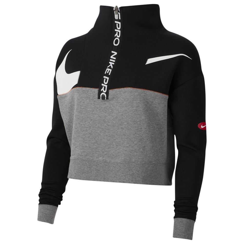 ナイキ Nike レディース フィットネス・トレーニング ハーフジップ トップス【Pull Over DF JDIY 1/2 Zip Fleece】Black/Carbon Heather/White