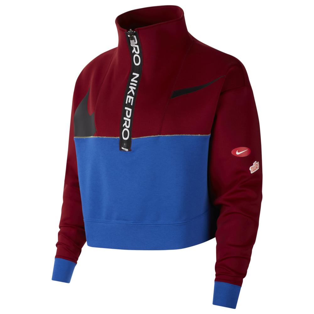 ナイキ Nike レディース フィットネス・トレーニング ハーフジップ トップス【Pull Over DF JDIY 1/2 Zip Fleece】Team Red/Game Royal/Black