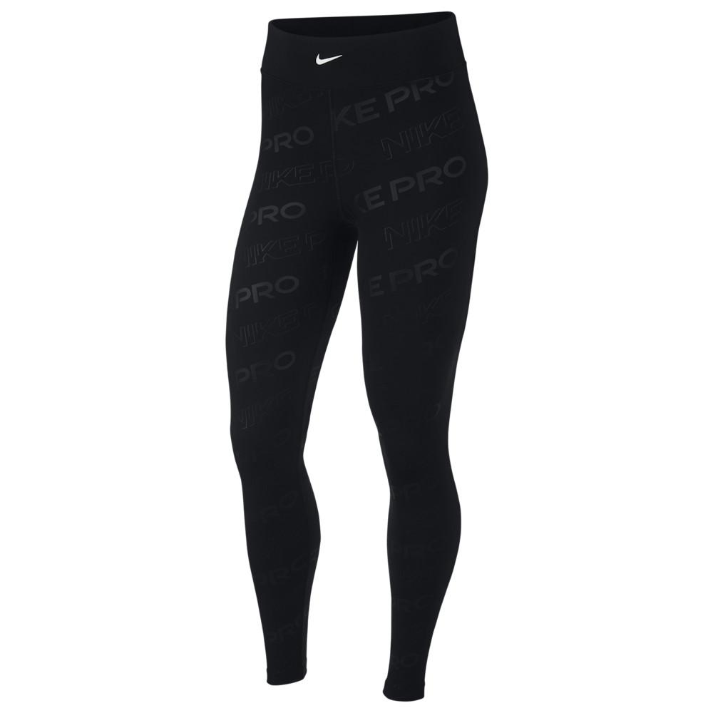 ナイキ Nike レディース フィットネス・トレーニング スパッツ・レギンス ボトムス・パンツ【Pro Print Tights】Black/Black/Metallic Silver
