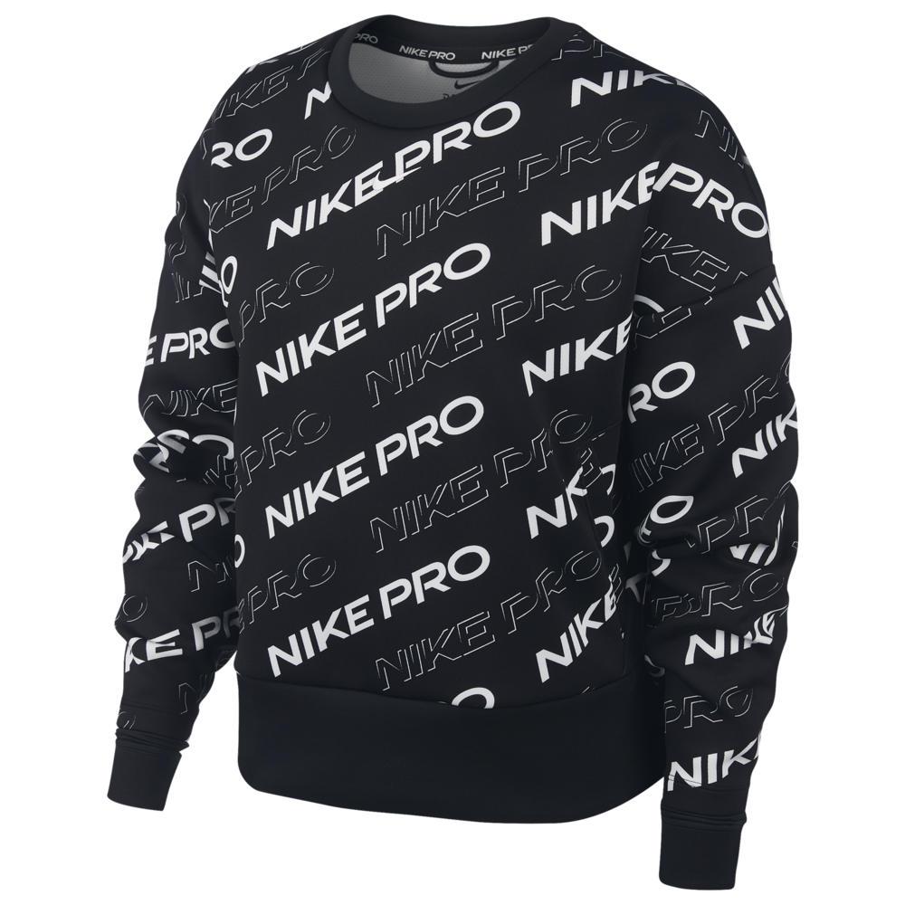 ナイキ Nike レディース フィットネス・トレーニング トップス【Pro Print Fleece Crew】Black/Metallic Silver