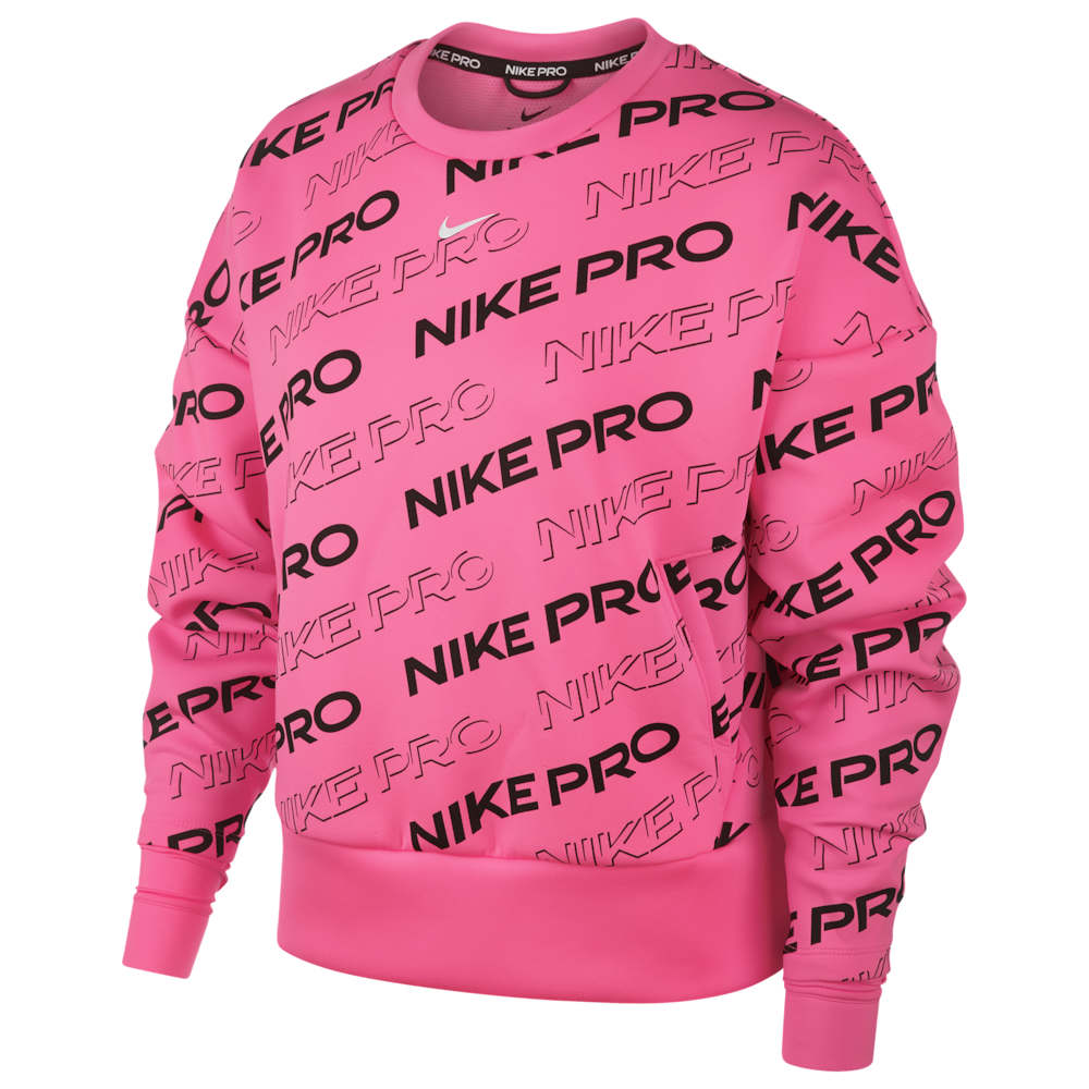 ナイキ Nike レディース フィットネス・トレーニング トップス【Pro Print Fleece Crew】Digital Pink/Metallic Silver