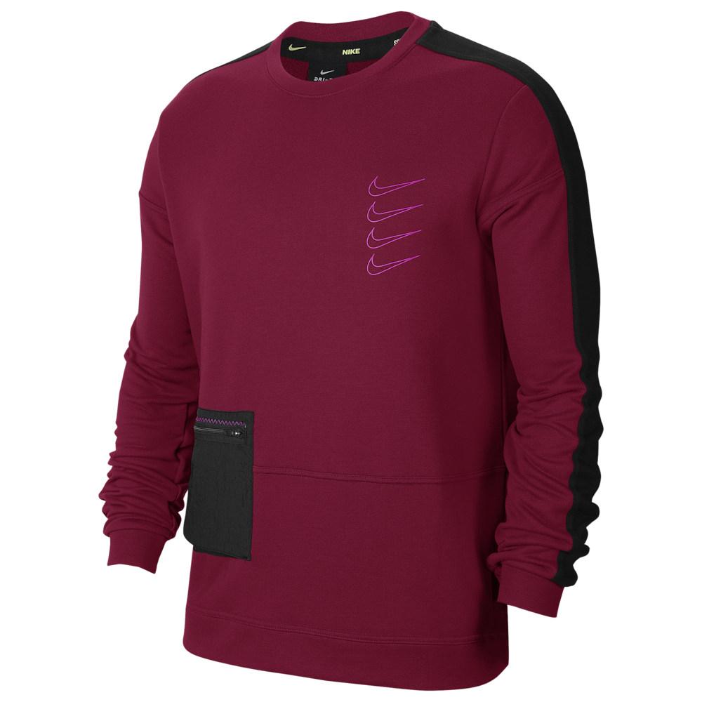 ナイキ Nike レディース フィットネス・トレーニング トップス【Long Sleeve Pullover Fleece Crew】Noble Red/Black/Fire Pink