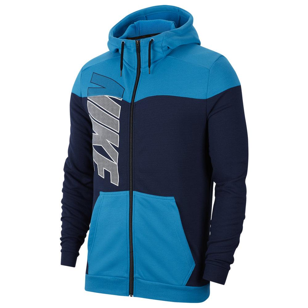 ナイキ Nike メンズ フィットネス・トレーニング パーカー トップス【Dry Fleece Full-Zip Hoodie】Laser Blue/Midnight Navy