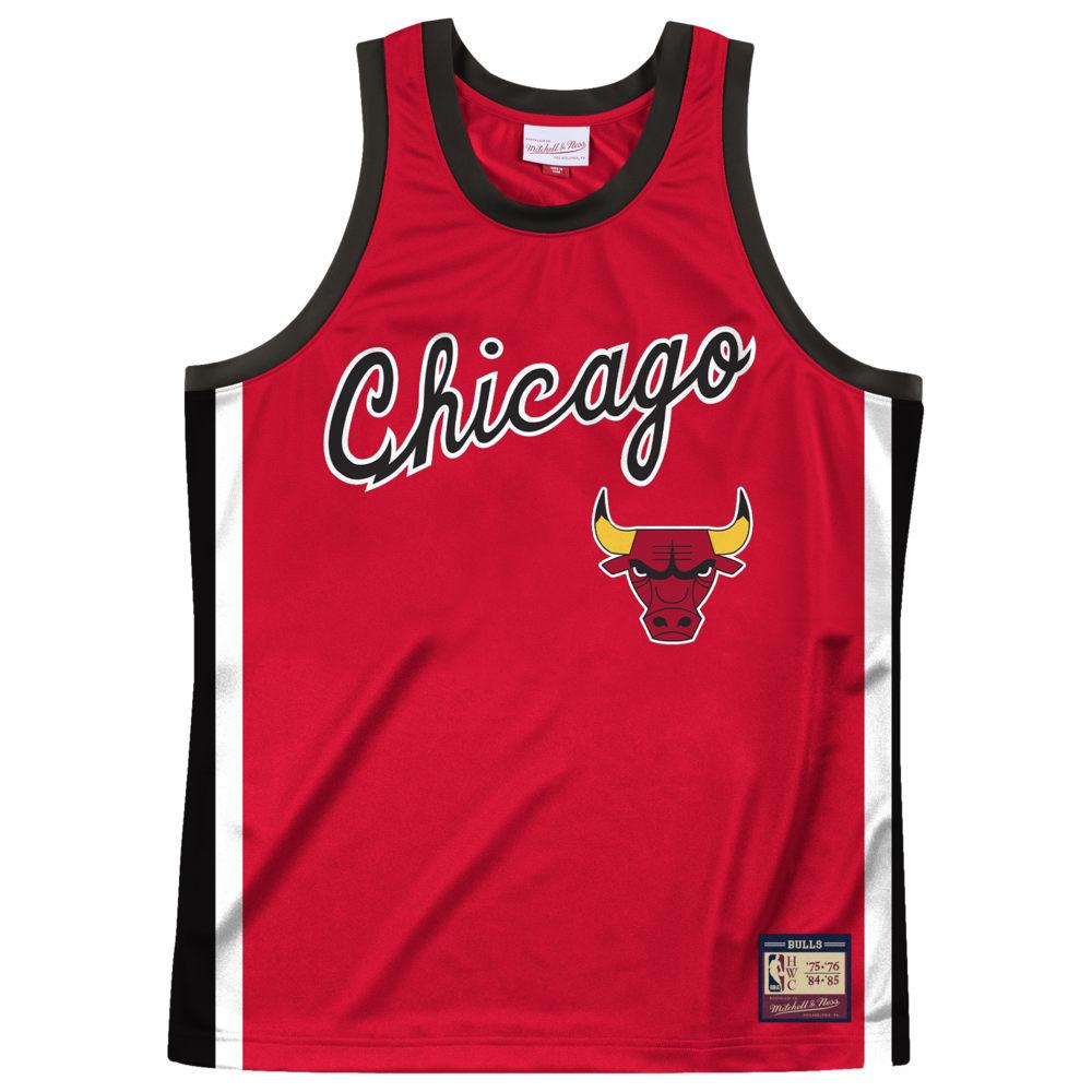 ミッチェル&ネス Mitchell & Ness メンズ バスケットボール タンクトップ トップス【NBA Heritage Tank】NBA/Chicago Bulls/Red/Black/1975 to 1976