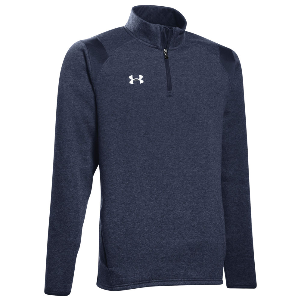 アンダーアーマー Under Armour メンズ フリース トップス【Team Hustle 1/4 Zip Fleece】Midnight Navy/White