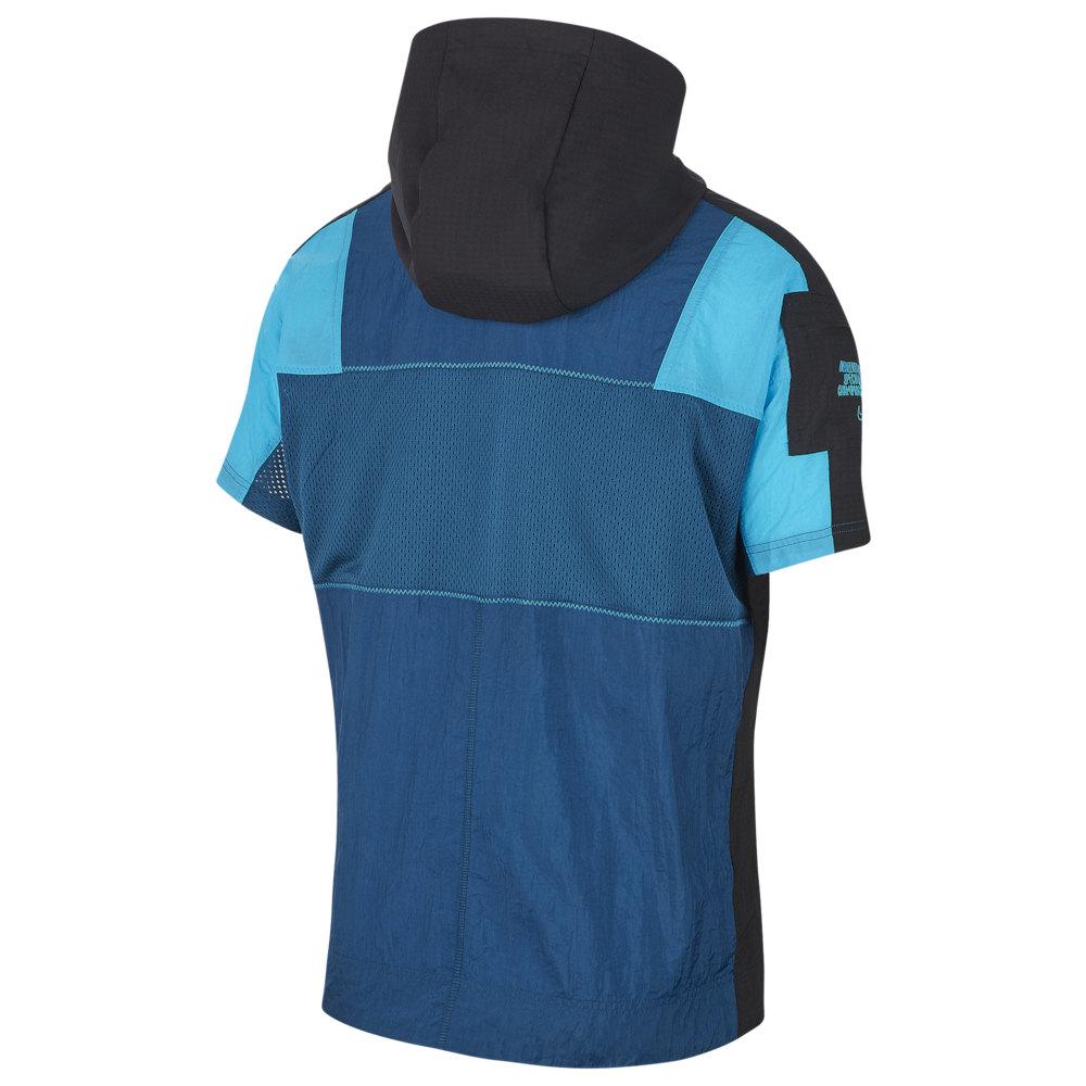 ナイキ Nike メンズ フィットネス・トレーニング フード トップス【Short Sleeve Hooded Jacket】Valerian Blue/Laser Blue/Black