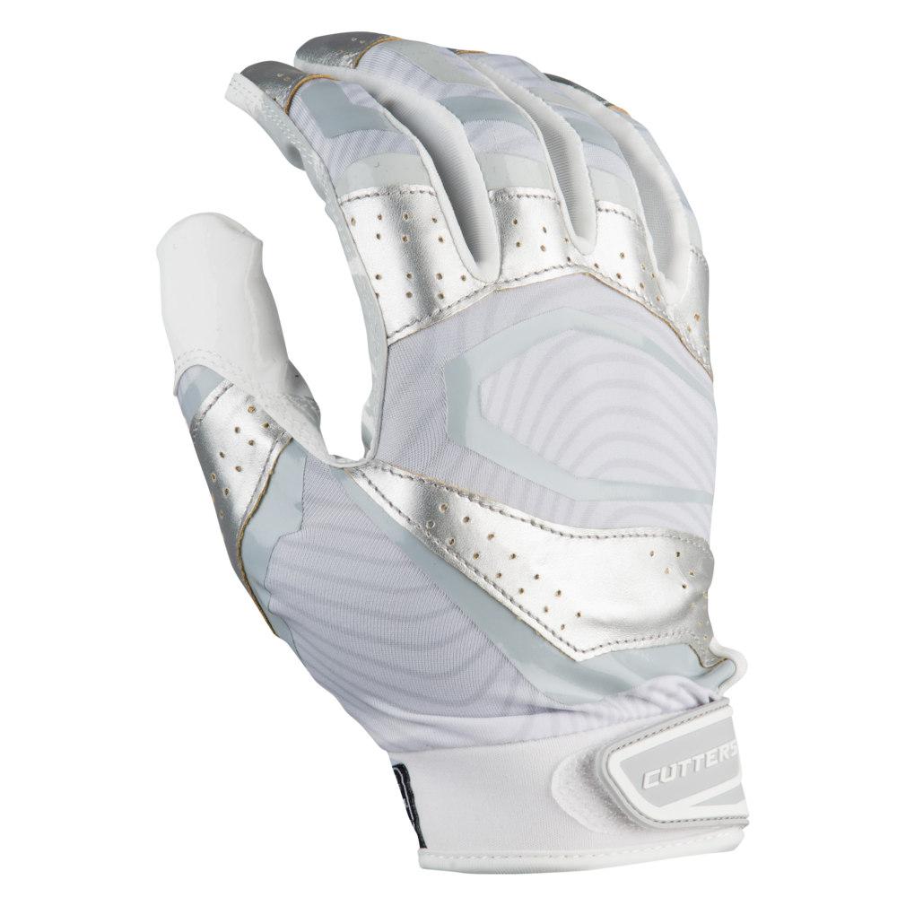 カッターズ Cutters メンズ アメリカンフットボール レシーバーグローブ グローブ【Rev Pro 3.0 Metallic Receiver Gloves】White/Metallic Silver