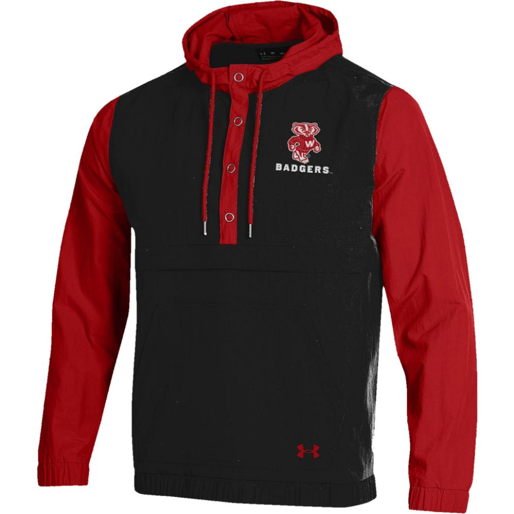 アンダーアーマー Under Armour メンズ ジャケット アノラック アウター【college crinkle anorak jacket】NCAA Wisconsin Badgers Black/Red