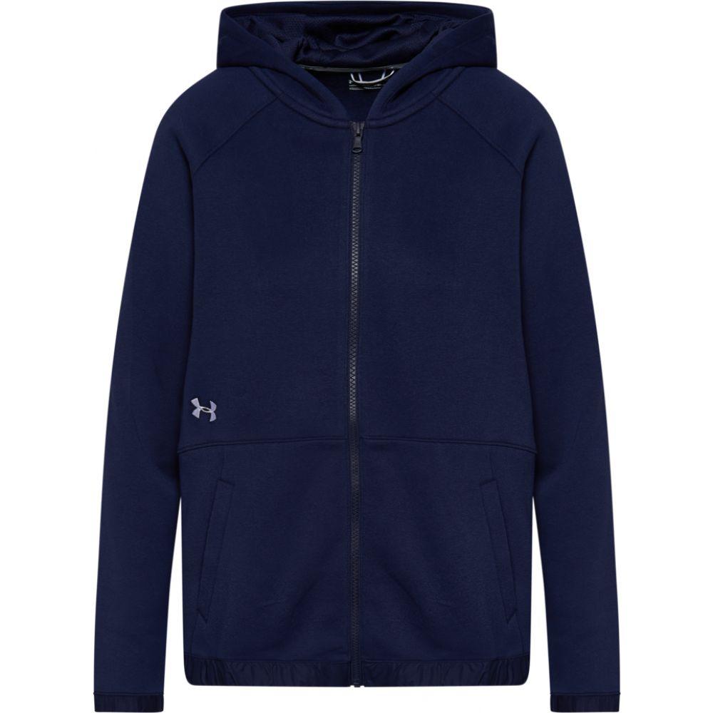 アンダーアーマー Under Armour レディース フィットネス・トレーニング パーカー トップス【team hustle fleece full-zip hoodie】Midnight Navy/White
