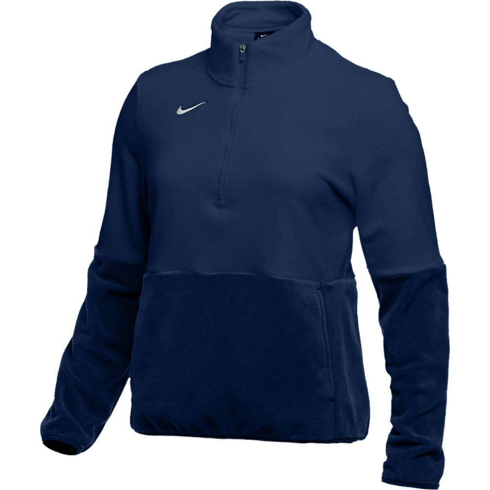 ナイキ Nike レディース フィットネス・トレーニング ハーフジップ トップス【team authentic fleece 1/2 zip top】College Navy/White