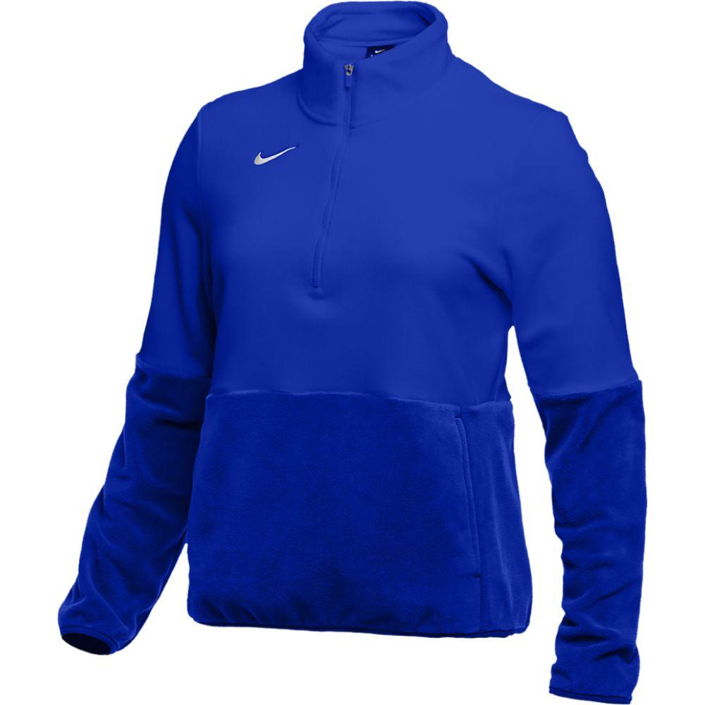 ナイキ Nike レディース フィットネス・トレーニング ハーフジップ トップス【team authentic fleece 1/2 zip top】Game Royal/White