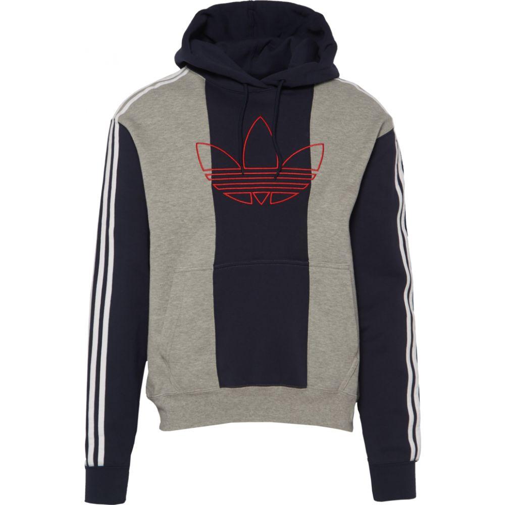 アディダス adidas Originals メンズ パーカー トップス【offcourt trefoil hoodie】Medium Grey Heather/Legend Ink